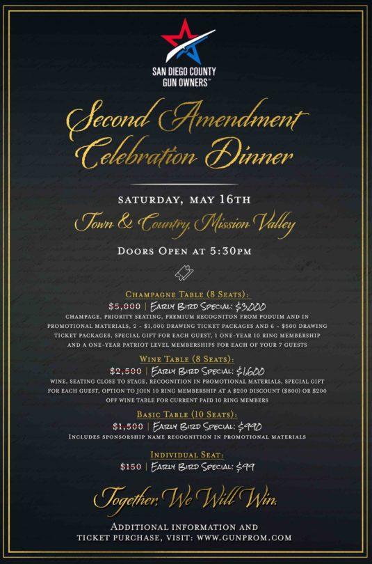San Diego County Gun Owners 2nd Amendment Celebration Dinner